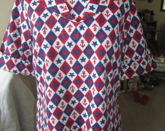 """Vintage """"Anchors Away"""" Red, White and Blue Nautical Themed Woman's Sailor Top....Seamstress Made, Cotton"""