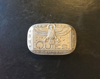 French Egyptian Revival Aluminum Pill Box or Case, Marked Paris