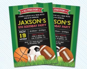 Digital Printable Sport Ball Birthday Invitation. Soccer, football, basketball, baseball....