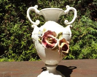 Superb Vase ceramic earthenware /, full color, Vintage pitcher Italian ceramic.