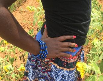 Royal Blue paper bead bangle handmade in Uganda.