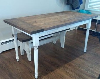 Farmhouse Dining Table With Turned Legs Farmhouse Table Rustic Dining Table Reclaimed Pine