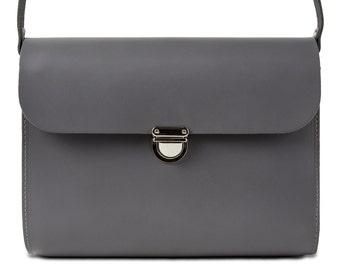 Grey Leather Crossbody/Shoulder Bag made in London