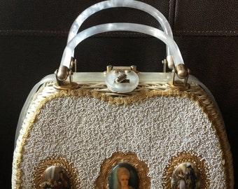 1960's Miami Beach Narber Originals white straw handbag