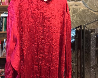 4x Red polyester blouse