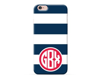iPhone 7 case blue white strips with monogram iPhone 7 plus case, custom iphone 6s case iphone 6s plus case iphone 6 5 5s 5c se Case