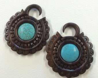 Organic wood and turquoise pendant