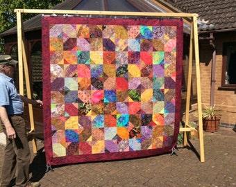 Queen Size Batik Quilt.Handmade Batik Quilt.Queen Size Bedding. Home Decor.Rainbow Quilt.Comforter.Red Quilt.Unique