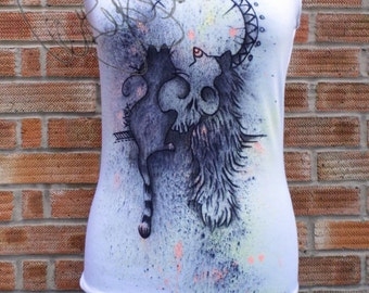 Unique hand painted tank top  cats and skull design
