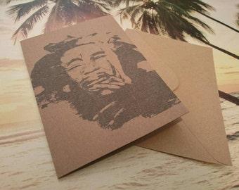Bob Marley Greetings Card - Blank Inside - Handmade From Recycled Card