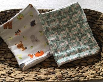Woodland critter owls animals burp cloth set of 2, baby, boy, shower gift