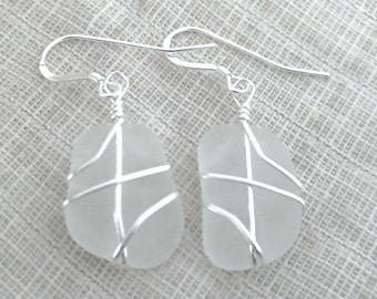 White Sea Glass and Sterling Silver Earrings 082813