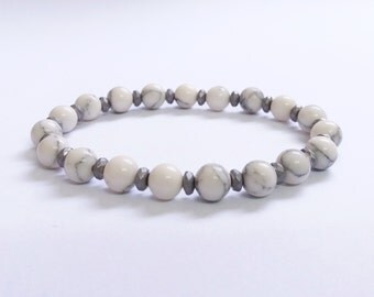 Natural White Howlite 6mm Beads And Hematite Beads Bracelet, Howlite Bracelet, Mens Bracelet, Womens Beaded Bracelet, Stretch Bracelet