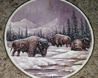 Vintage Winter 3 Bison, Snow, Winter, Mountains, Trees Plate Collector Home Decor Decoration
