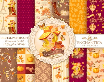 Autumn Digital Paper, Fall Digital Paper, Digital Paper Autumn, Fall Digital Background, Pumpkin Paper, Fall Patterns, Seamless, Scrapbook