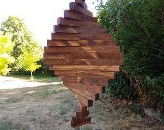 Wooden Wind Catcher.   Wind Spinner.    Wind Sculpture.   Mobile. Garden decoration