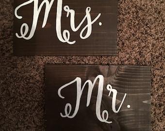 Mr & Mrs Wedding Chair Signs