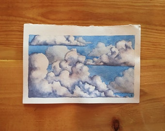 Handmade Watercolor Clouds Illustration - 5x8