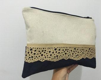 Velvet blue clutch