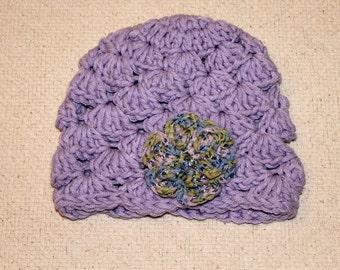 Baby Girl Purple Crochet Beanie