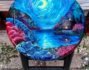 Wildflower Gully // Hand Painted Stool // Up-cycled // Landscape Painting // Accent Piece // House Warming Gift // Art