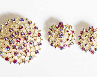 Vintage Gold Tone Broach with Rhinestones and Matching Clip on Earrings