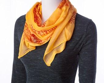 om yoga meditation scarf yellow & red