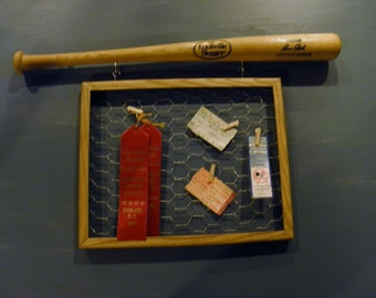 Mini Baseball Bat with Chicken Wire Frame - Kids Room - Baseball Cards - Awards - Memo Board - Ready to Hang
