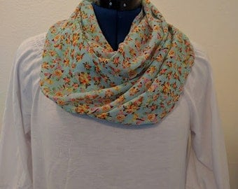 Blue Floral Print - Infinity Scarf