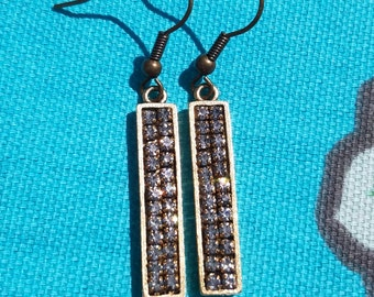 Hand Crafted Rhinestone Drop Earrings
