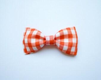 baby boy, toddler, orange gingham bowtie
