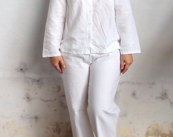 Linen Pajama / Linen Sleepwear Set, Pants Long Sleeves Pajamas Set