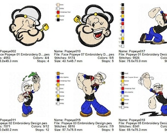 Package 22 Popeye Embroidery Designs