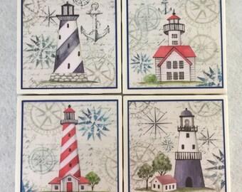 Lighthouse Tile Coaster Set
