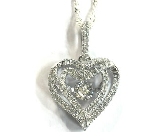 Sterling Silver 925 heart pendant with chain