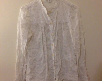 vintage button up blouse with embroidery