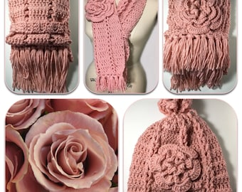 Handmade Crochet Scarf & Hat Set