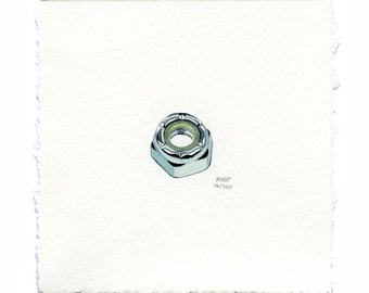 Small Realistic Shiny Metal 8mm Axle Nut Watercolor Painting