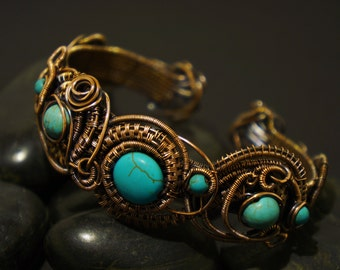 Turquise and Copper Armcuff