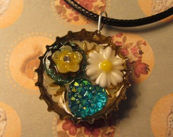 Steampunk upcycled bottle top charm necklace