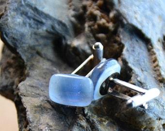 Cuff links  light blue rectangular