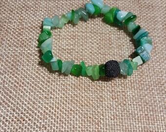 Essential Oil Diffuser Bracelet, Green Quartz Bracelet, Stretchy Bracelet, Aromatherapy, Quartz Bracelet, Diffuser Jewelry, Hippie