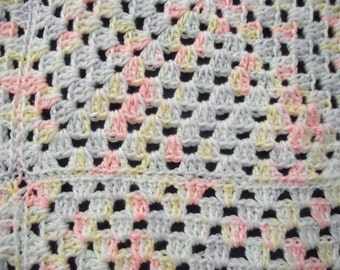 Crocheted Granny Squares Baby Blanket in pastel colors