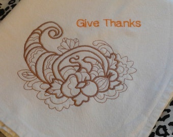 Autumn Fall Thanksgiving flour sack towel embroidered