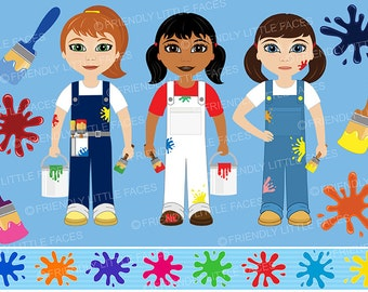 Painters, Paint Brushes and Splats Clipart - Digital Download