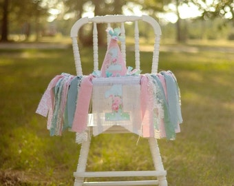 Shabby Chic birthday high chair banner/garland decor or photo prop-custom orders welcome!