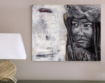 Large print, figurative art, fine art, contemporary painting, acrylic, ink jet, giclee print, modern art, drawing, woman, face, black, white