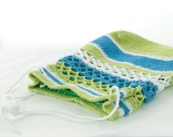 Blue & Lime Net Crochet Tote Bag