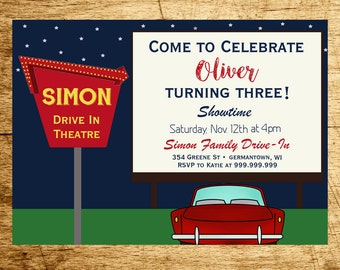 Drive In Movie Invitation, PRINTABLE, DIGITAL, Drive In Movie Party Invite