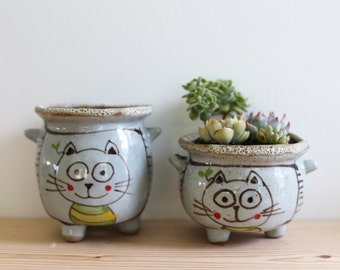 Handmade Succulent Planters with Drain Hole and Supporting Feet